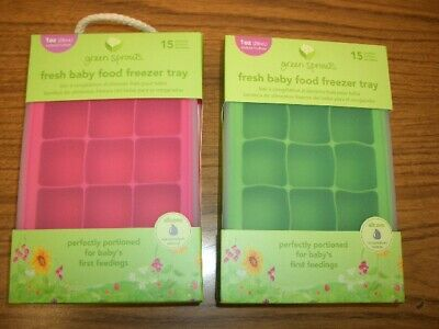 Green Sprouts Fresh Baby Food Freezer Tray 15 portions 1 oz cubes Silicone