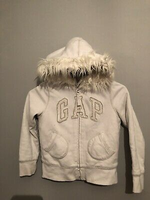 Gap Girls White Fur Lined Fur Hooded Hoodie With Fur Trim Age 6-7 Years
