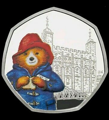 2019 Paddington Bear At The Tower Silver Proof 50P Coin Unc.
