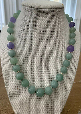 Vintage Celadon Jade Carved Bead Necklace Chinese Estate Lot Jewelry
