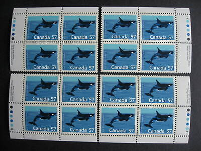 Canada Killer Whale Ut 1173i MNH plate block, full matched set of 4