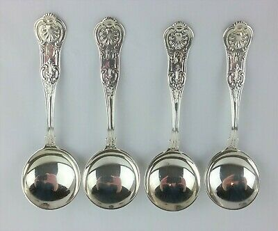 GORHAM KINGS III Sterling Silver .925 Bouillon Soup Spoons Set of 4 1885