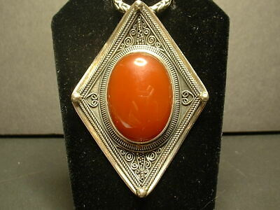 """Sterling Silver Large Carnelian Pendant W/17-1/2"""" Byzantine Heavy Toggle Chain!"""