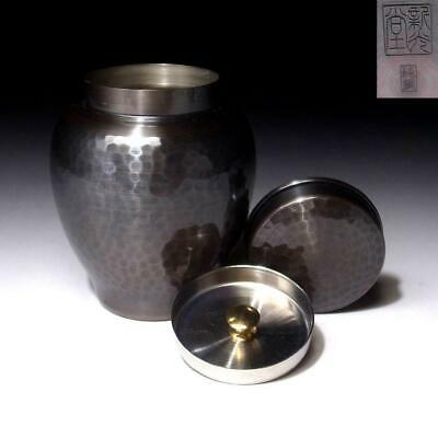 YC18: Japanese Pure Copper Double-capped Tea Caddy, Chaire