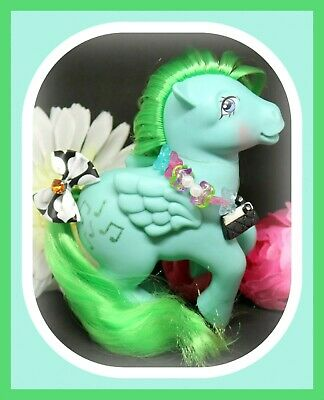 ❤️My Little Pony MLP G1 Vtg MEDLEY Pegasus Blue Green Glitter Music Notes❤️