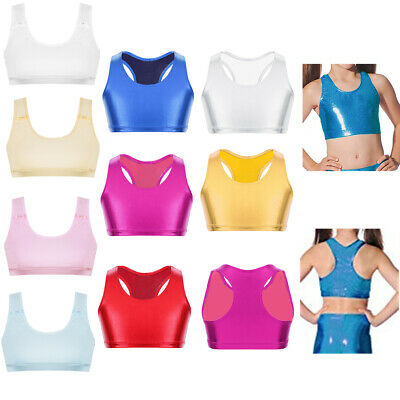 Kids Girls Crop Top Basic Dance Bra Tops Sports Gym Workout Performing Tank Vest