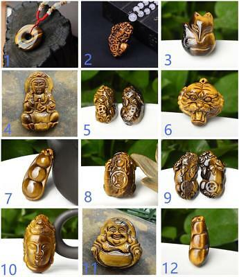 Fashion Natural Tiger's Eye Stone Hand-Carved GuanYin Bean Lucky Pattern Pendant