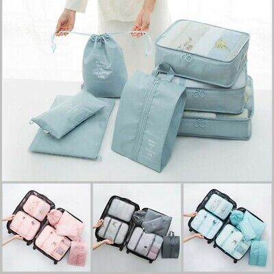 7Pcs Travel Luggage Storage Bag Clothes Organiser Packing Cubes Pouch Suitcase