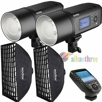 2Pcs Godox AD600Pro 600W TTL HSS 1/8000s Strobe Flash Studio + Softbox + Trigger