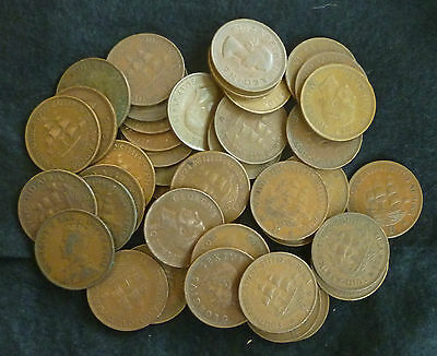 South Africa 1d's Bulk Lot of 40 Circulated Pre-Decimal Pennies 1930's- 60's