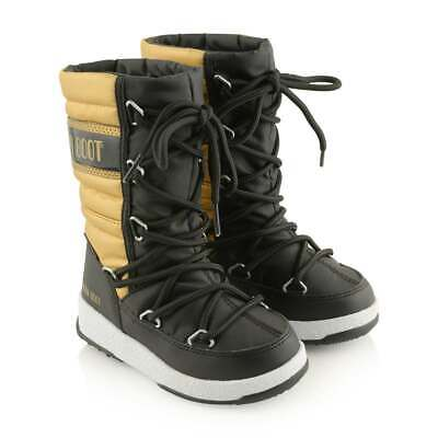REDUCED! LOOK! Girls Moon Boot Originals 11.5 Black & Gold Worn Once! £77 New!