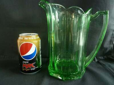 Vintage Art Deco Green Pressed Glass Water Jug