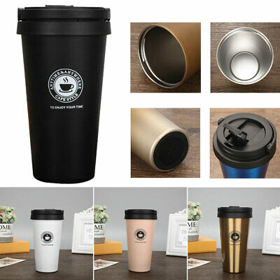 Stainless Steel Leakproof Insulated Thermal Travel Coffee Mug Cup Flask 500ml UK