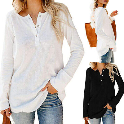 Women Long Sleeve Loose Tops Blouse Ladies Baggy Blouse T Shirts Button Neck Tee