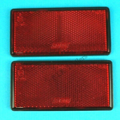 2 x RED Reflectors Self Adhesive Stick on 100mm x 50mm - Horsebox Trailer