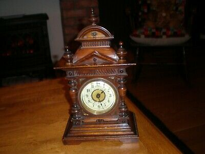 Vintage  Junghans German Wooden Mantel Clock With Alarm