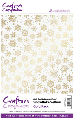 CRAFTERS COMPANION 15 x A4 Luxury Printed SNOWFLAKE VELLUM 160gsm CC-VEL-GOLD