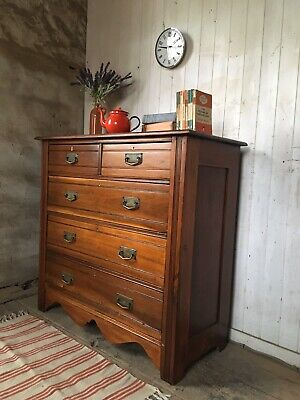 Large Antique Edwardian Solid Wood Arts & Crafts Chest Of Drawers Brass Handles