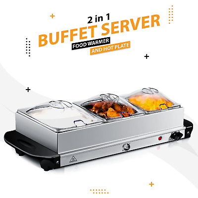 Electric Food Warmer 200W Buffet Server Adjustable Temperature Hot Plate Tray