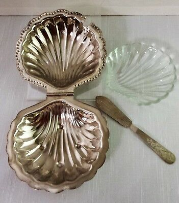 LEONARD SILVERPLATE CLAM SHELL BUTTER CONDIMENT DISH w/ GLASS INSERT & KNIFE
