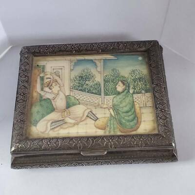 Antique Indian Silver Inset Painting Box