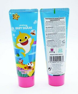 2 x Baby Shark Toothpaste 75ml Each Childrens Oral Hygiene Care Teeth Cleaning