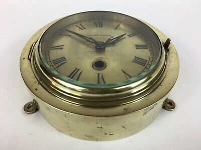 Antique Ships Bulkhead Brass Clock 'George Wilson - London' Nautical