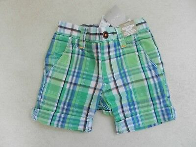 BNWT Next Boys Green Blue Check Shorts Adjustable Waist Age 3 Years Summer