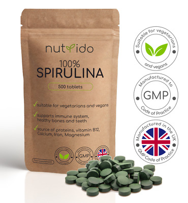 Natural Spirulina Detox Energy Immune Vitamin Booster Weight Loss |500mg Tablets