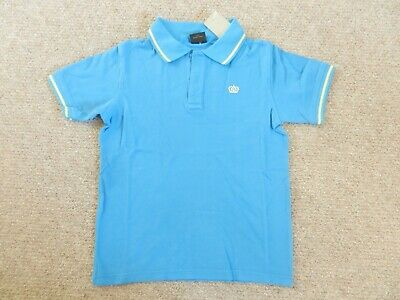 BNWT Next Boys Polo Collared Bright Blue Yellow Tipped T-Shirt Age 9 Years