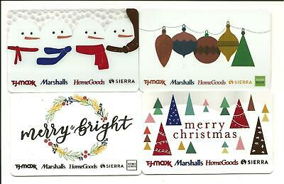 Lot of (4) TJ Maxx Homegoods Marshalls Holiday Gift Cards No $ Value Collectible