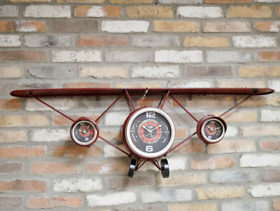 Large Aeroplane Rustic Wall Clock And Shelf, Antique Style Wall Clock With Shelf