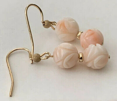 Carved Antique Angel Skin Coral Flower Chinese Peony Earrings