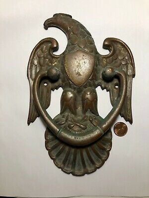 Vintage Baldwin Federal Eagle Shield Door Knocker Solid Brass BIG! Heavy 9""