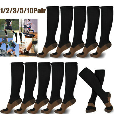 10 Pairs Copper Compression Socks 20-30mmHg Graduated Support Mens Womens S-XXL