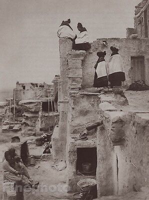 c.1900/72 EDWARD CURTIS Photo Gravure Native American Indian Hopi Women House