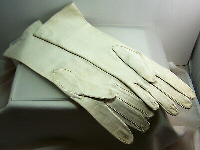 """13.25 """" Long White Kid Leather Gloves Size 7.2 Washable Made in Belgium 1960's"""