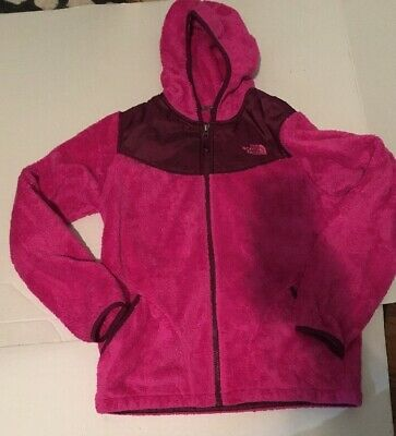 The North Face Size Lg/18 Girls Pink Fleece Hoodie Hooded Sweater Jacket