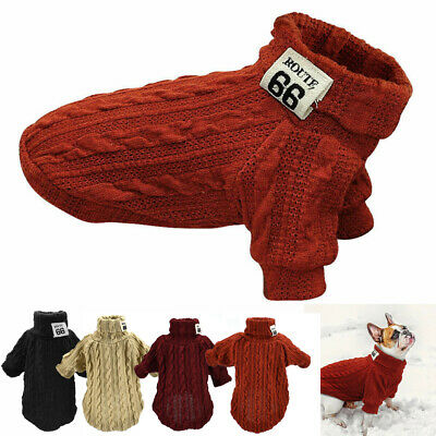 Cat Dog Pet Clothes Turtleneck Knitted Sweater Puppy Winter Warm Coat Costume