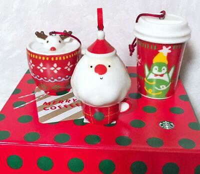 STARBUCKS 2017 Cup Penguins Reindeer 2019 Holiday Santa Christmas Ornament 3 Set