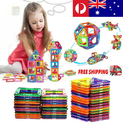 50/100PCS Magnetic Toy Building Blocks Set 3D Tiles DIY Educational Kids Toys AU