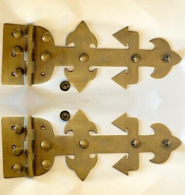 "2 large STUDS hinges old aged style 100% Brass BOX heavy hinge 11"" gothic B"
