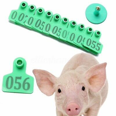 01-100 Number Animals Cattle Goat Pig Sheep Ear Tag Livestock Tags Labels Green