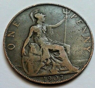 1907 Edward VII Bronze One Penny Coin 1d Great British Coin Hunt