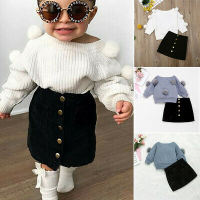 2PCS Toddler Kids Baby Girl Autumn Winter Clothes Sweater Tops+Mini Skirt Outfit