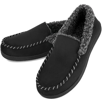 VONMAY Men's Moccasin Slippers Fuzzy House Shoes Fleece Home Memory Foam