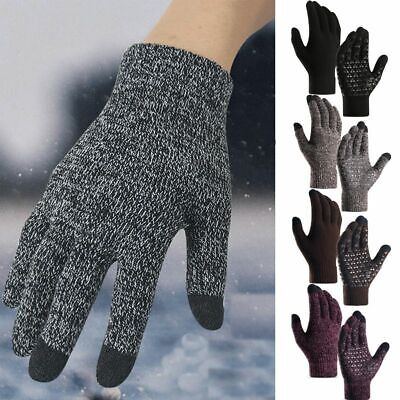 Winter Warm Touchscreen Gloves for Women Men Knit Wool Lined Texting Gloves