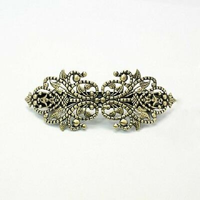 1 Barrette Hair Clip Blank Antiqued Bronze French Hair Clip Accessory Filigree