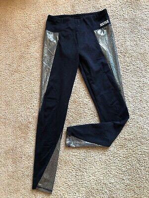 Girls Justice Leggings Size 14/16 Active Navy Blue Full Length EUC