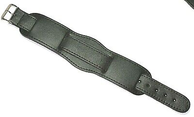 Cuff Bund Style Military Genuine Leather Watch Strap Black 20Mm Made In Wales